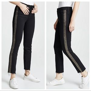 MOTHER The Rascal Embellished Ankle Fray Jeans